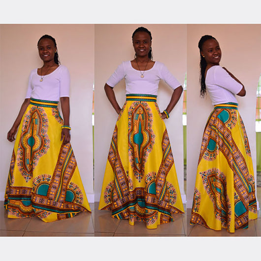 Fashion African Women Skirt Summer A-Line Skirts Digital printing Elegant vestidos High Waist Vintage Skirts-0wm12