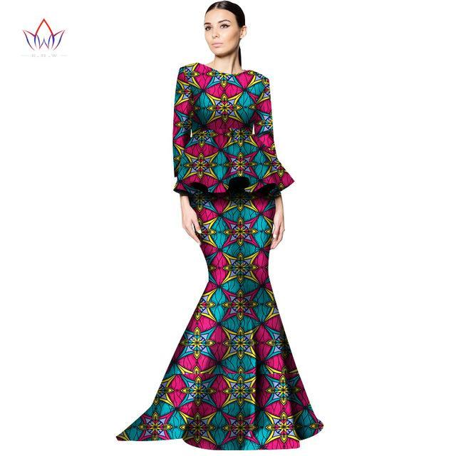2017 New Style Women African Clothing Print Dashiki Women 2 Piece Skirt Set Long Skirts and Top Plus Size African Clothes WY1329