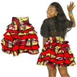 African Women Multiple Layers Skirt African Print Dashiki High Waist Knee-length Midi Skirt -0wm12