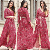 Summer New Women Long Dress Bohemian Beach Casual Ruffles Slash Neck Off Shoulder Chiffon Dresses Plus Size Print Slit Dress -0wm34