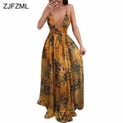 ZJFZML Floral Printed Sexy Chiffon Dress Women Spaghetti Strap Sleeveless Maxi Dress Summer Deep V-Neck Back Lace Up Long Robe