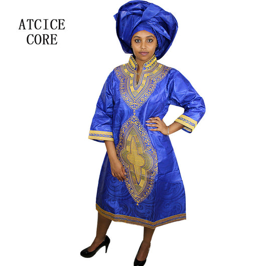 african dresses for women fashion design new african bazin embroidery design dress Middle-skirt with scarf two pcs one set A197#