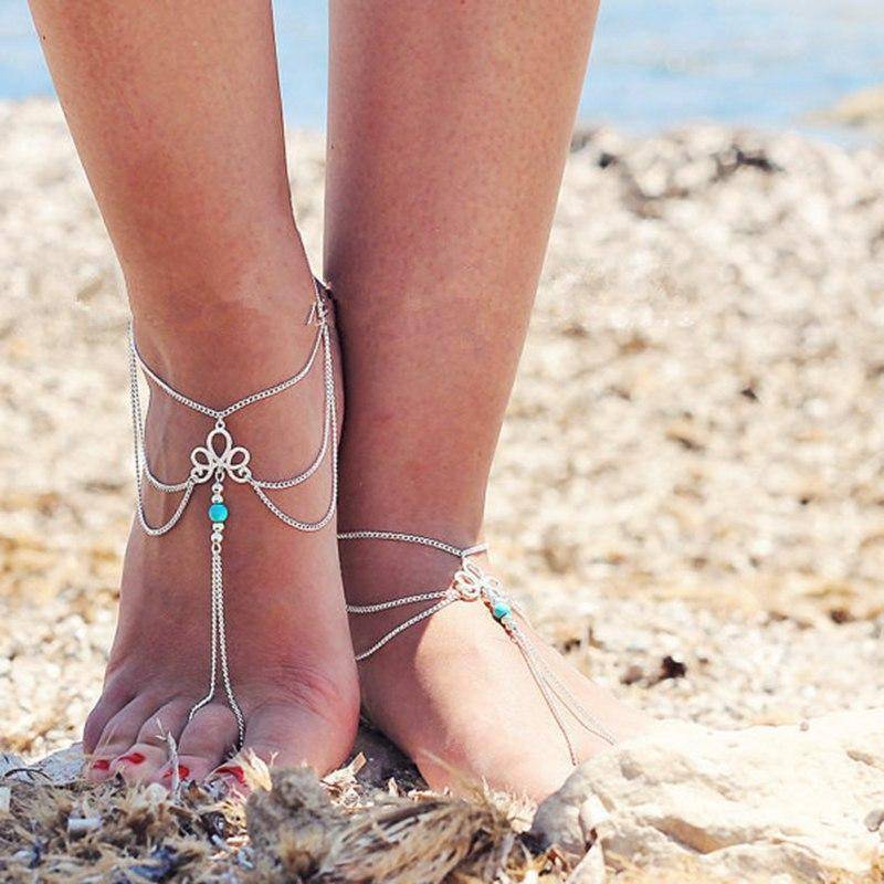 1 foot Bohemian Beach Anklet Bracele Antique Silver Color Beads Flower Charms Anklet for Women Party barefoot Sandals Leg Foot Jewelry