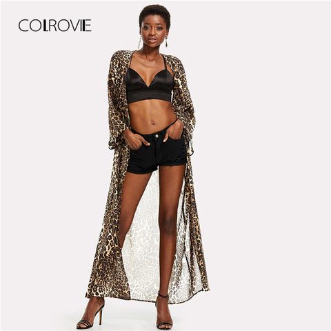 Spring Allover Leopard Print Maxi Kimono Multicolor Long Sleeve Women Clothing 2018 Longline Vacation Kimono