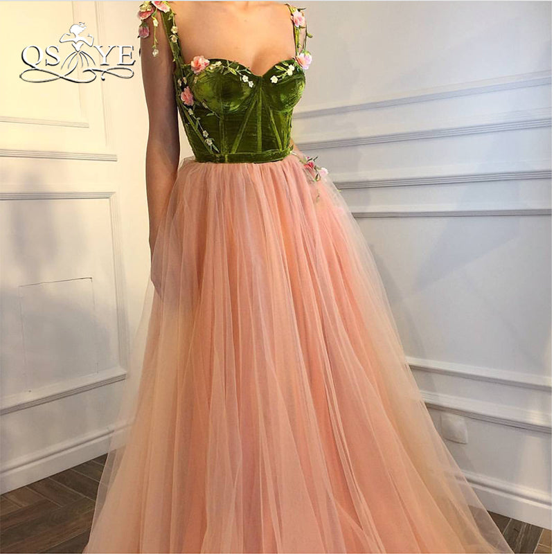 QSYYE 2018 Vintage Long Prom Dresses Robe de Soiree 3D Floral Flower Pink  Tulle Floor Length ... 49015c4ae68a