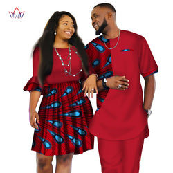 African Men and Women Ankara print couple dress, african clothes for boyfriend,girlfriend wedding Dress and men suit  o-neck men two piece set dashiki short sleeve cloth plus size-0W454