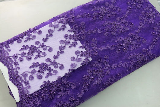 HIGH QUALITY FRENCH  LACE WITH LOTS OF BEADS-0WX45F