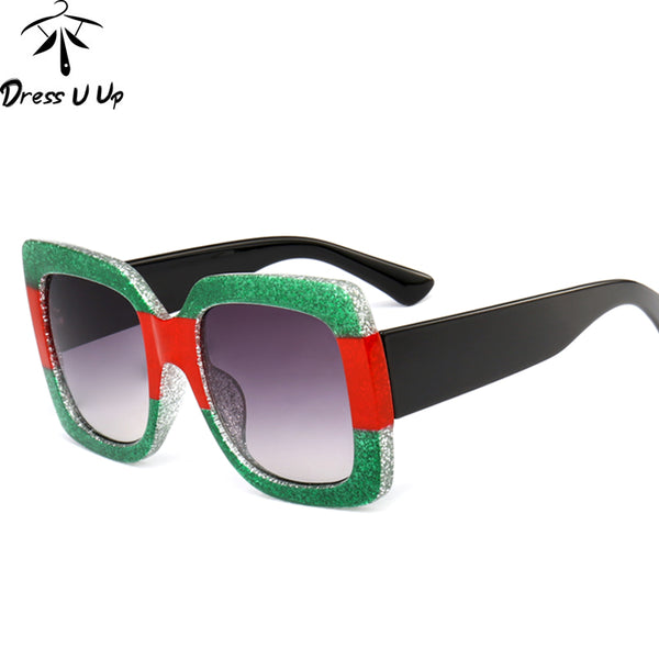 DRESSUUP Fashion Designer Shiny Stitching Frame Gradient Lens Square Vintage Men Sun Glasses Oculos De Sol Feminino UV400