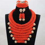 Indian Crystal Red African Beads Statement Jewelry Sets, Bib Necklace Set Women Event Party Jewelry Set-0WM1808