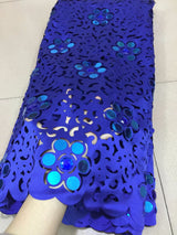 5 yard Women Embroidery French cut laser lace African mesh tulle lace fabric with with big stones and sequins high quality 5 yards-0WM1805