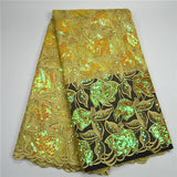 5 yards-sequins african guipure lace fabric with sequins lace for wedding-0WM1805