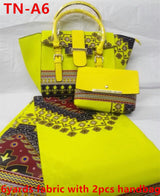 Wholesale 6yards cotton african wax prints fabric with 2pcs hand bag super wax women hand bag-0WQY78