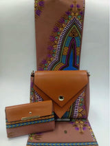 African wax bags sets,high quality 100% cotton wax prints fabric with leather patchwork fashion handbag-0WQY78