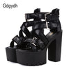 Image of Gdgydh Fashion Summer Open Toe Black Sandals Woman Platform Thick Heels Sandals Brand Designer Sexy Soft Leather Women's Shoes