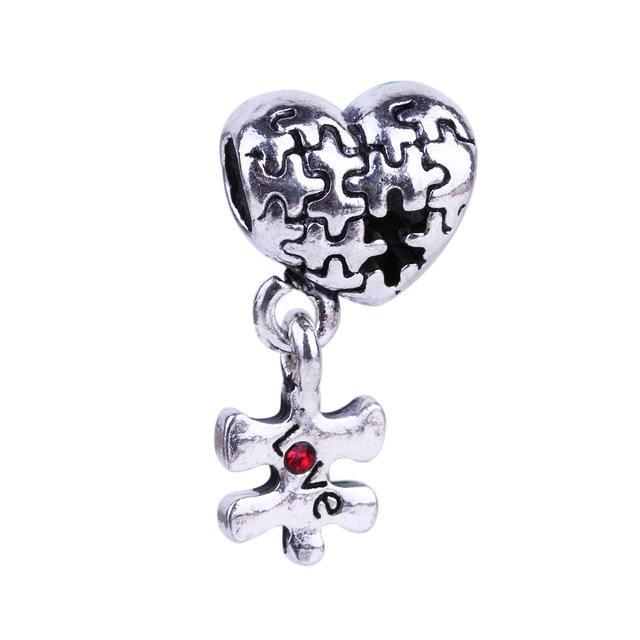 1Pc Love You to Pieces Puzzle Charms Silver Beads European DIY Beads Fit Original Pandora Charms Bracelets Fashion Jewelry for Women
