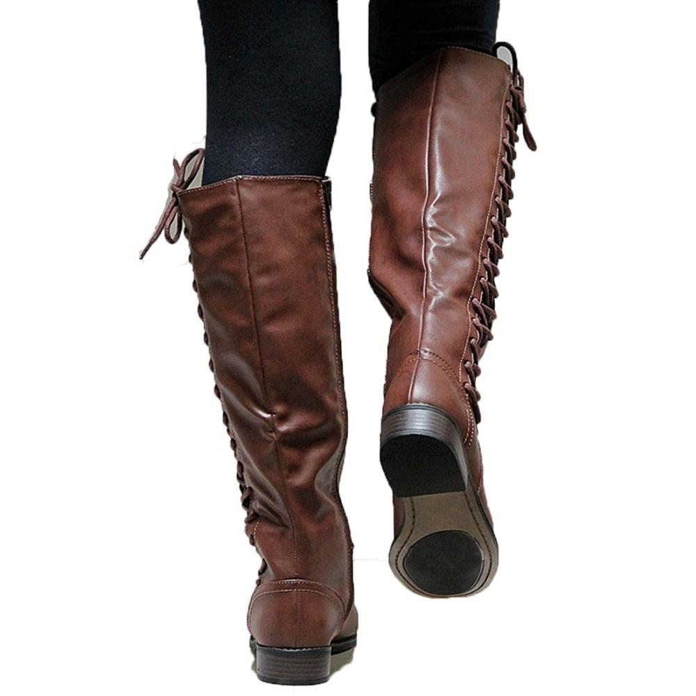 274bceb5812a 2018 New Designer Womens Square Low Heel Riding Motorcycle Heel Knee High  Boots Lace Up Punk. Hover to zoom