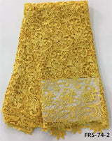 5 Yard Yellow nigerian guipure lace embroidery fabrics flower pattern cord lace fabrics-0W-56