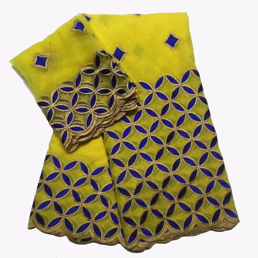 yellow blue cotton lace frican swiss voile fabric high quality french net lace blouses cheap for nigerian dresses 7yard/lot -D1141