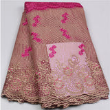 Hot Sale French Lace Fabric With Beads and Stones African Tulle Lace Fabric High Quality Nigeria Mesh Lace-D1141