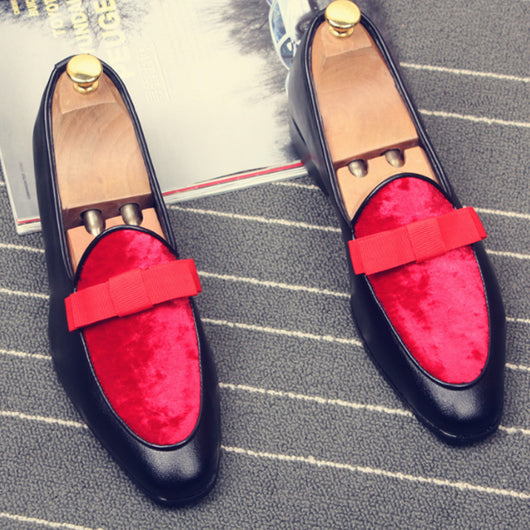 Men'S Pointed Flats Bow Knot Red Casual Shoes No Tie Shoelaces Loafers Male Nightclub Slip On Dress Shoes-D1141