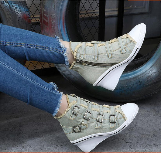 Blue White Denim Ankle Boots Fashion Wedges Heels Pumps Lace-up Cowboy Shoes High Heels jean wedge-D1141