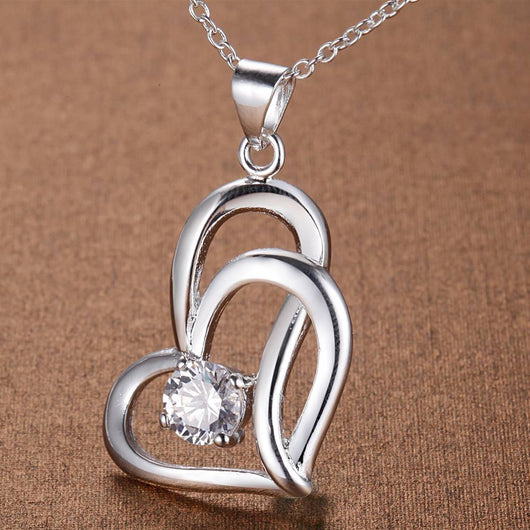 Double love hearts zircon silver plated Necklace-890-0w
