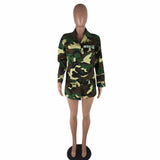 women jacket American Camouflage Military Long section Stand Neck Jacket with Button-890-0w