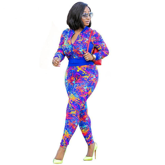 Women Floral Zipper Bodycon Long Sleeve Two Piece Women Rompers Overalls jumpsuit-890-0w