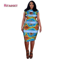 2018 African Bazin Riche Dresses For Women Splicing Knees Print Dresses  Plus Size 6xl African Women ... 3cdc8a5a4bdd