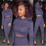 Women Tracksuit Women Hoodies 2-Piece Set Purple/Blue Hooded Sweatshirt+Long Pants Suits-qwm-789