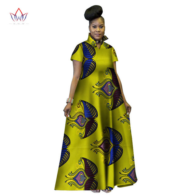 882070b0f Hover to zoom · Fashion Print Long Ball Gown Dresses Bazin Riche African  Stand ...