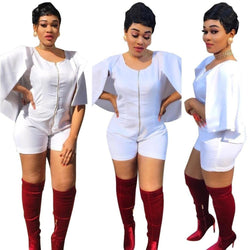 2017 New arrive famous brand bodycon jumpsuit cloak sleeve women playsuit white summer rompers 8079
