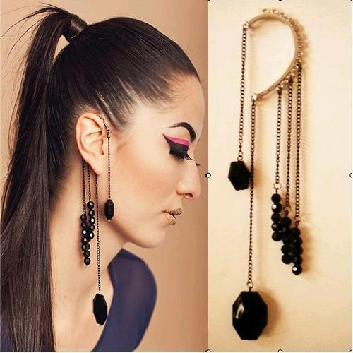 2016 Retro exaggerated black beaded Artificial gem No pierced tassel earrings Personality