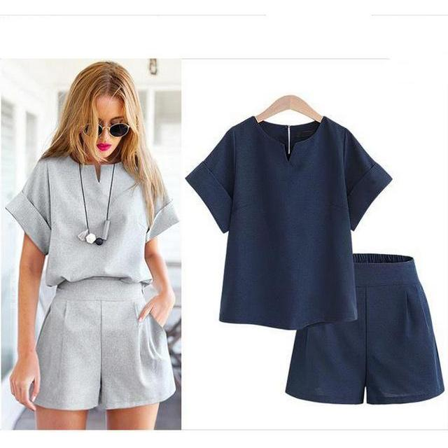 2017 Summer Women Suits Casual Short Sleeve O-neck Tops Loose T-shirt+Shorts Two Pics Sets Sportswear Tracksuit Plus Size 5XL
