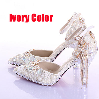 363c11533205d Elegant Pointed Toe Ivory Pearl Wedding Party Dress Shoes Ankle Strap Boots  Bridal Shoes Rhinestone Pumps for Wedding Shoes