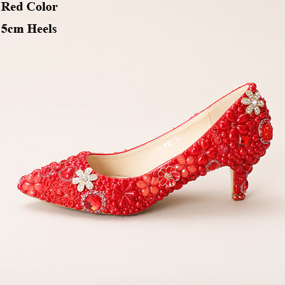 ... White Elegant High Heels Bride Shoes Wedding Shoes Pointed Toe Formal  Dress Shoes Pearl Rhinestone Sparkling ...