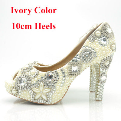 Popular Peep Toe Women Shoes Elegant Crystal High Heel Shoes Party Prom Dress Shoes