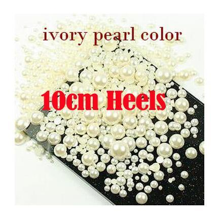 2016 Luxury Crystal Diamond Women Pumps High Heels Shoes Gorgeous White Ivory Flower Pearl Bridal Wedding Dress Shoes