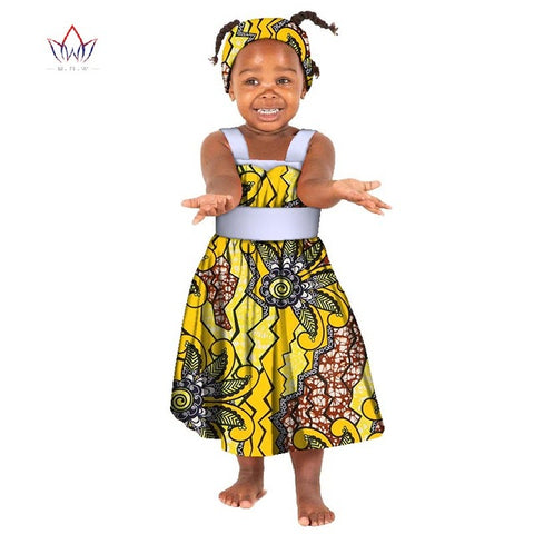 bd1060b1ffc98 African Bazin Riche Kid Dresses 2018 Dashiki Patchwork Cute Girls Dresses  African traditional clothing for Children WYT153