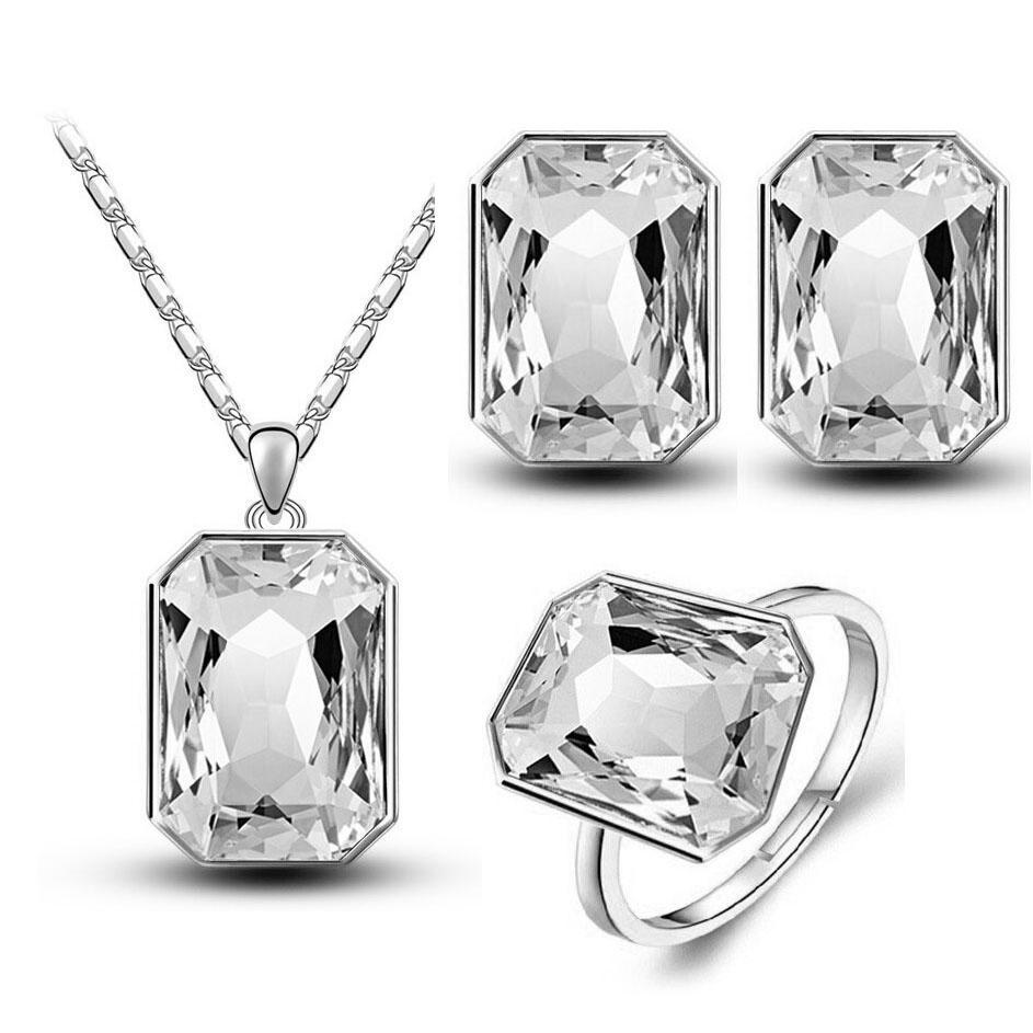 2017 christmas gifts queen brand bridal wedding 18KGP crystal square pendant necklace earrings RINGS fashion jewelry sets 84844