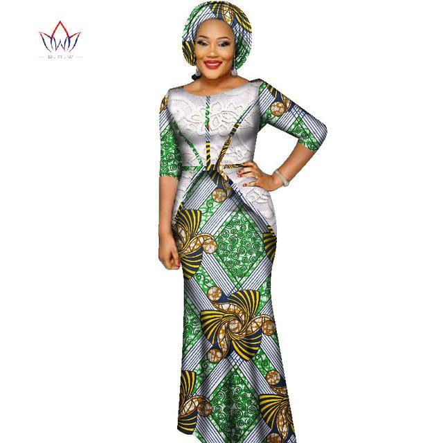 2018 african bazin dresses for women african half sleeves dresses for women in african clothing wax dashiki fabric 6xl WY2393