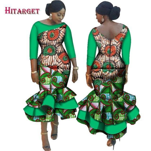 b4beca75f2 Hover to zoom · 2018 New Dashiki African Bazin Riche Dresses for Women  Cascading Ruffle Dress Vestidos ...