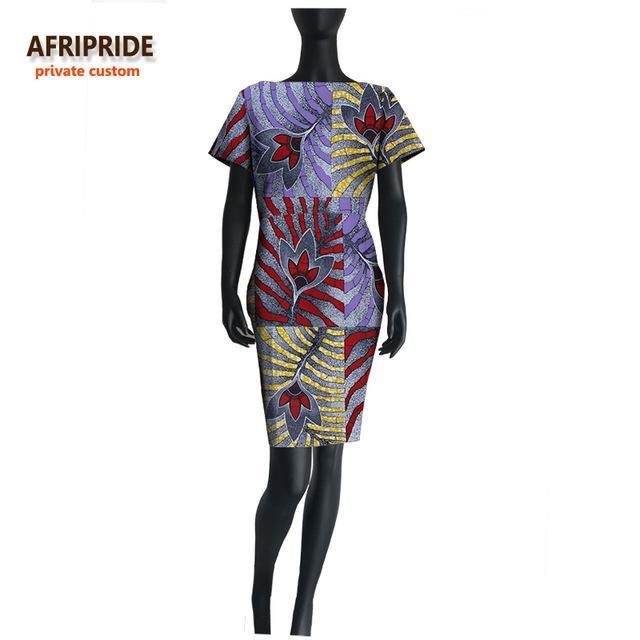 18 original african casual dress for women AFRIPRIDE short sleeve bazin riche fashion dress print cotton wax plus size A722508