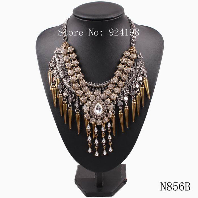 New Arrival Design Fashion Brand Statement Necklace For Women Chain Crystal Spike Pendant Choker Necklace Jewelry Gift