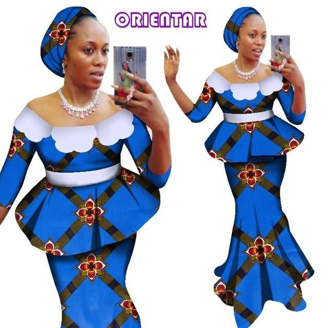 2018 African Dashiki Two Pieces Set Women Half Sleeve Crop Tops & Long Skirt Sets African Women Mermaid Maxi Clothing 6XL WY2838
