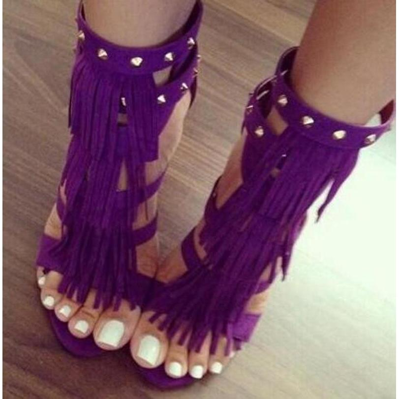 2017 Summer New Fashion Women Suede Fringe Sandals Tassels Weave Ankle Strap Open-Toe High Heeled Female Club Sandals Shoes
