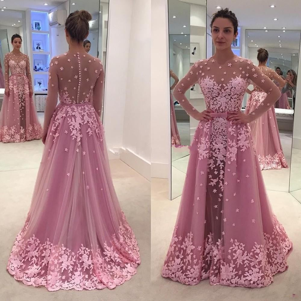 ff5650c842 Hover to zoom · Elegant Dusty Pink Floral Long Formal Party Dresses  Detachable ...