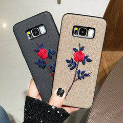 BINYEAE Embroidery Phone Cases For Samsung Galaxy Note 8 Case Vintage Fabric Rose Flower Soft Cover For Samsung S9 S8 Plus Case
