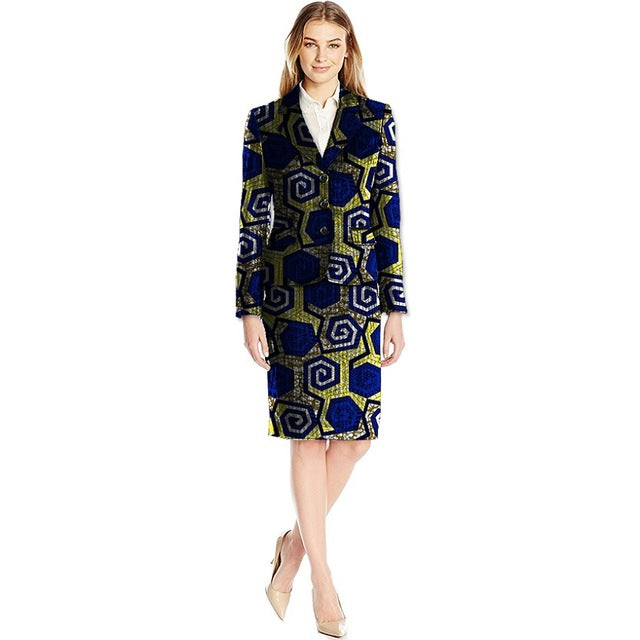 840c409248606 African Print Skirt Suits Women Suit+Skirt Two Pieces Festive Ladies  Fashion Suit Jacket Tailored. Hover to zoom