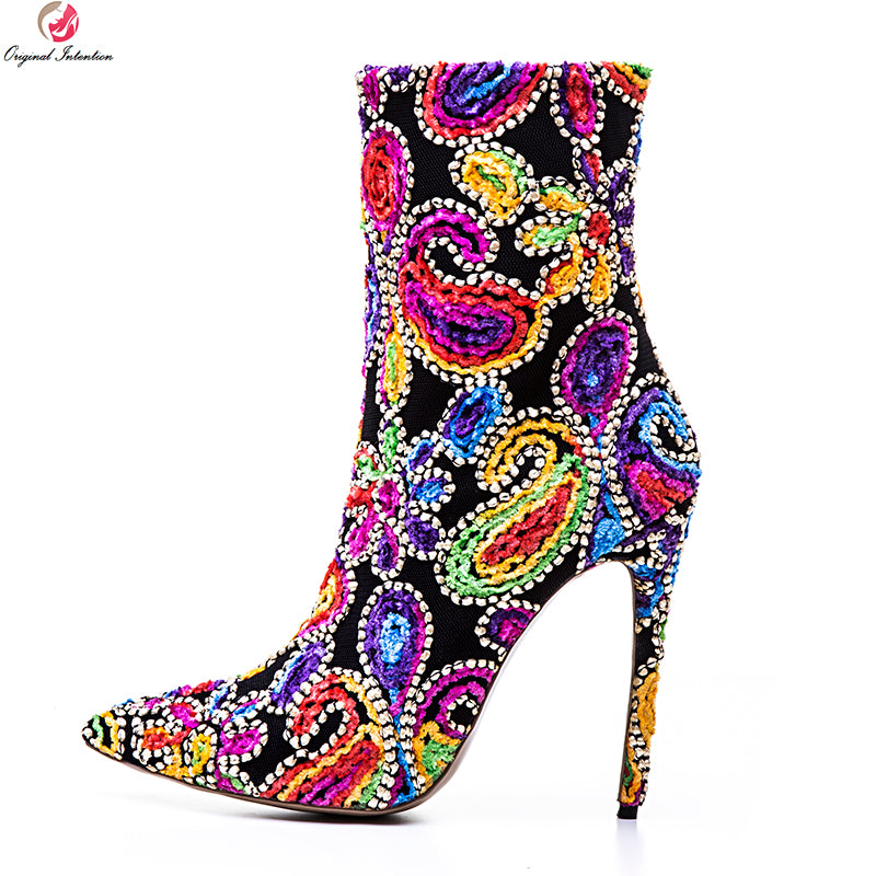 Original Intention Gorgeous Women Ankle Boots Pointed Toe Thin High Heel  Boots Fashion Red Blue Shoes ... 588278e02f12